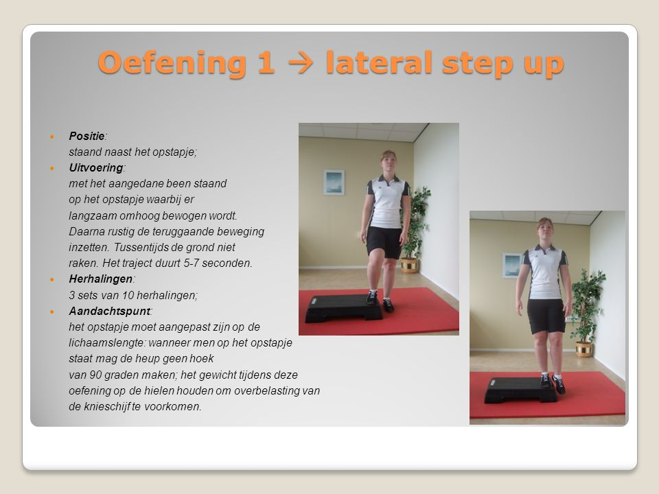 Oefening 1  lateral step up