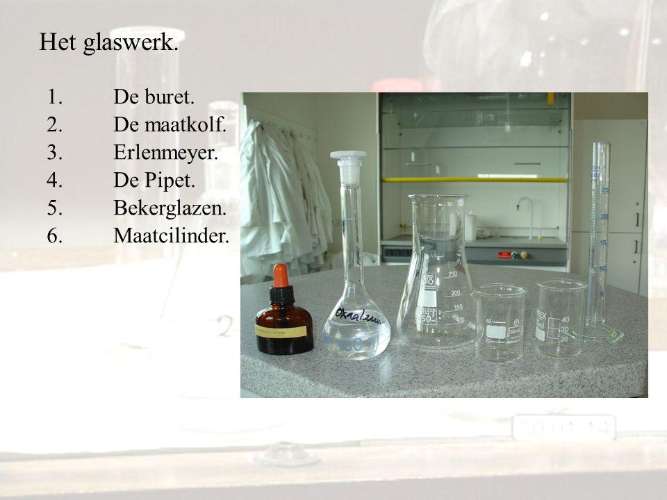 Het glaswerk. 1. De buret. 2. De maatkolf. 3. Erlenmeyer. 4. De Pipet.