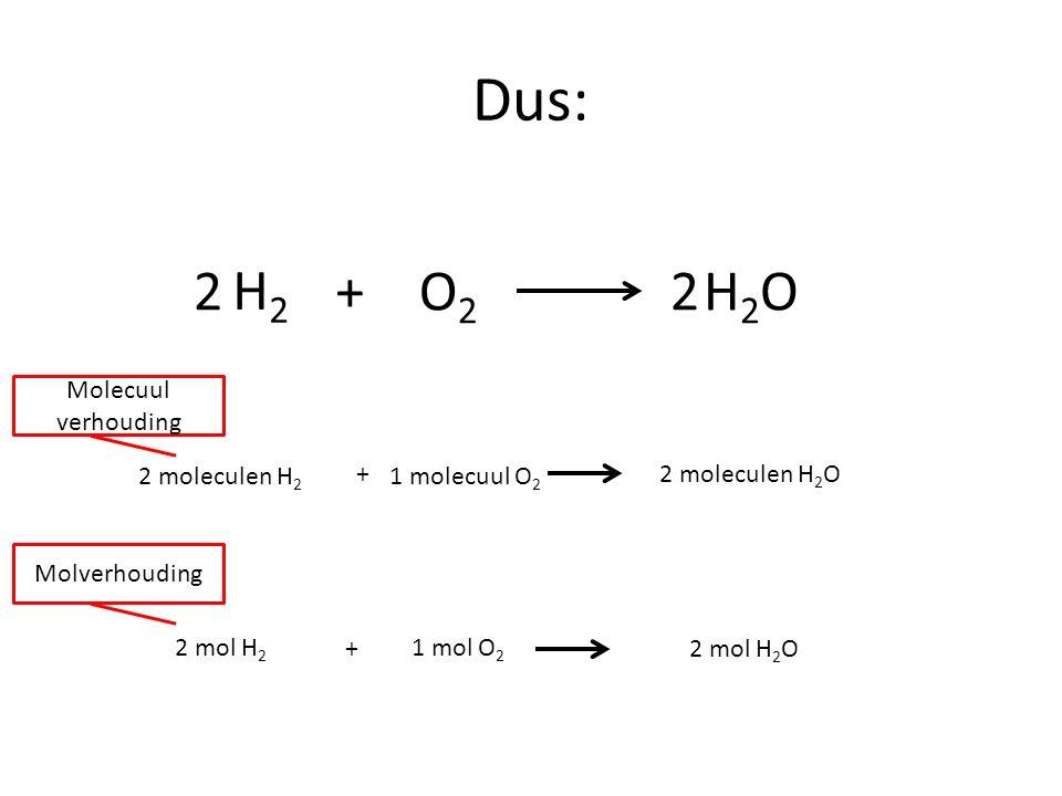 Dus: 2 H2 + O2 2 H2O Molecuul verhouding 2 moleculen H2 +