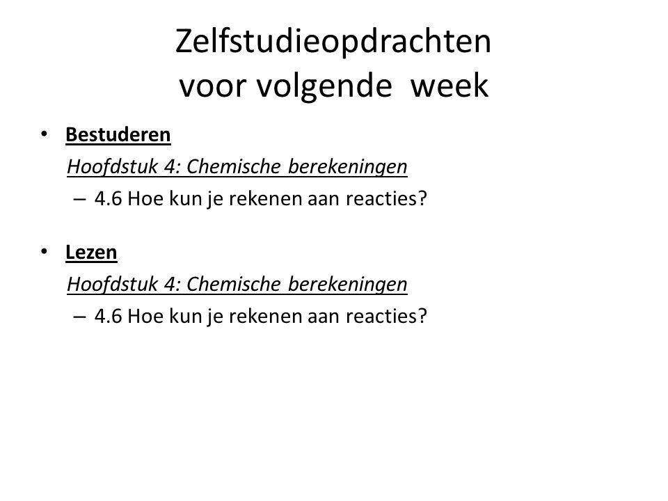 Zelfstudieopdrachten voor volgende week