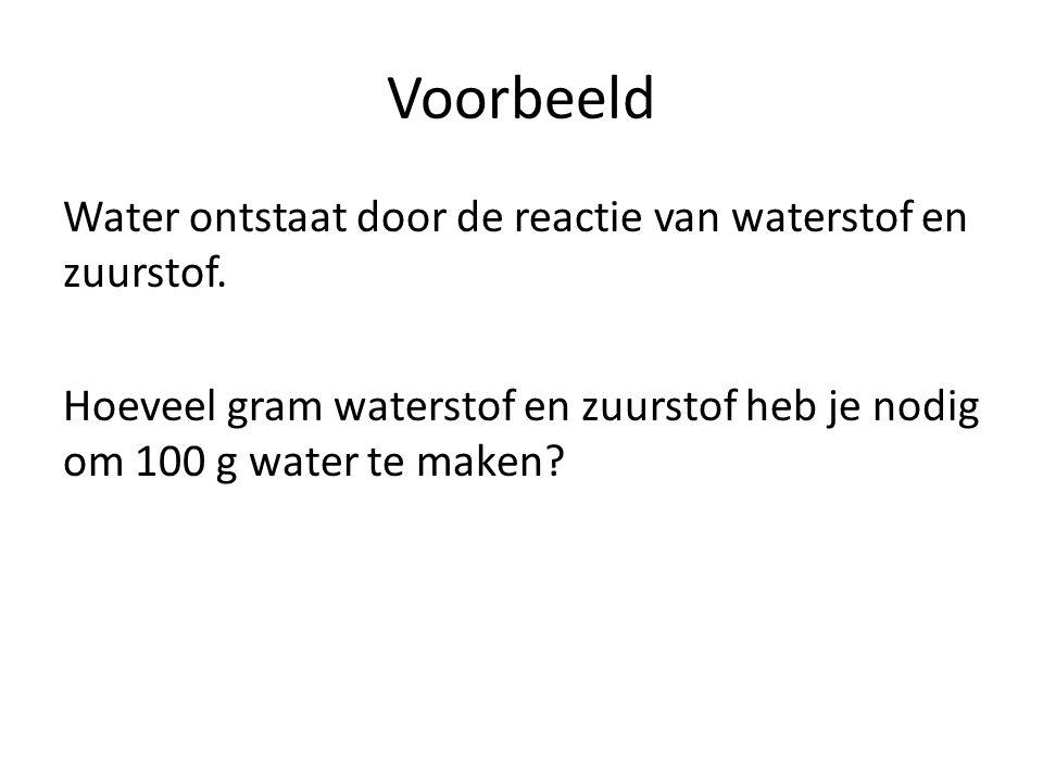 Voorbeeld Water ontstaat door de reactie van waterstof en zuurstof.