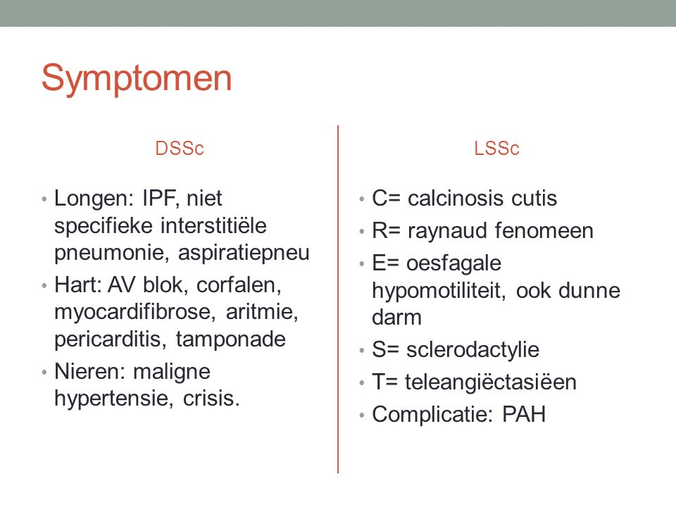 Symptomen DSSc. LSSc. Longen: IPF, niet specifieke interstitiële pneumonie, aspiratiepneu.