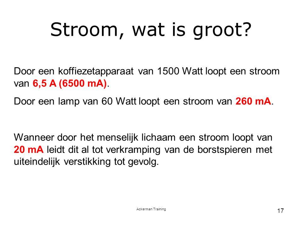 Stroom, wat is groot Door een koffiezetapparaat van 1500 Watt loopt een stroom van 6,5 A (6500 mA).