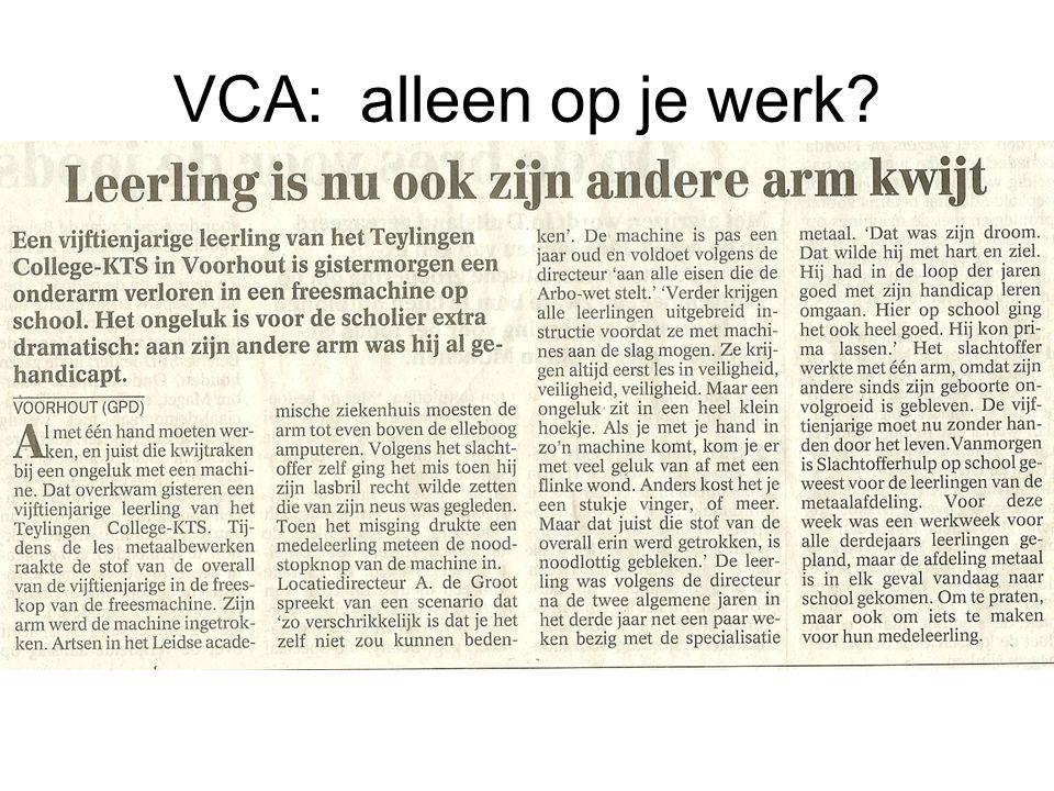 VCA: alleen op je werk