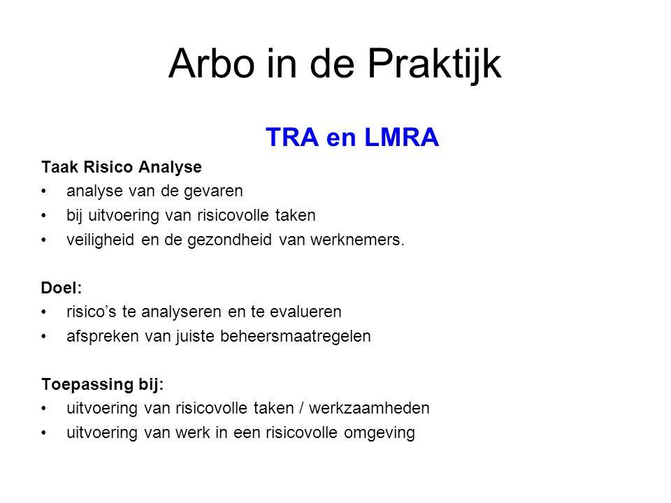 Arbo in de Praktijk TRA en LMRA Taak Risico Analyse