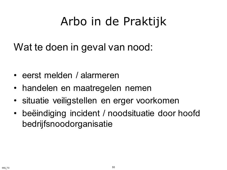 Arbo in de Praktijk Wat te doen in geval van nood:
