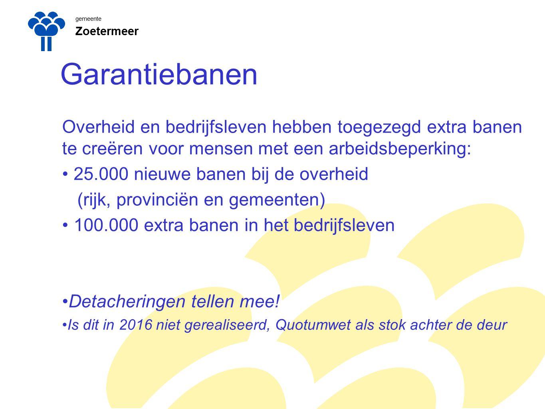 gemeente Zoetermeer. Garantiebanen. Overheid en bedrijfsleven hebben toegezegd extra banen te creëren voor mensen met een arbeidsbeperking: