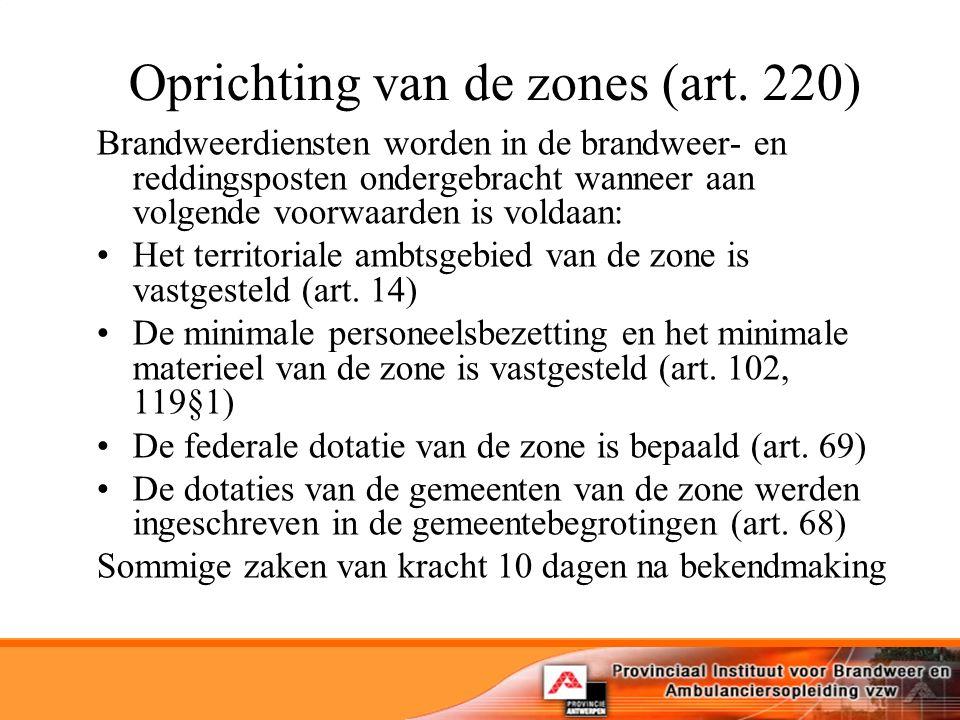 Oprichting van de zones (art. 220)