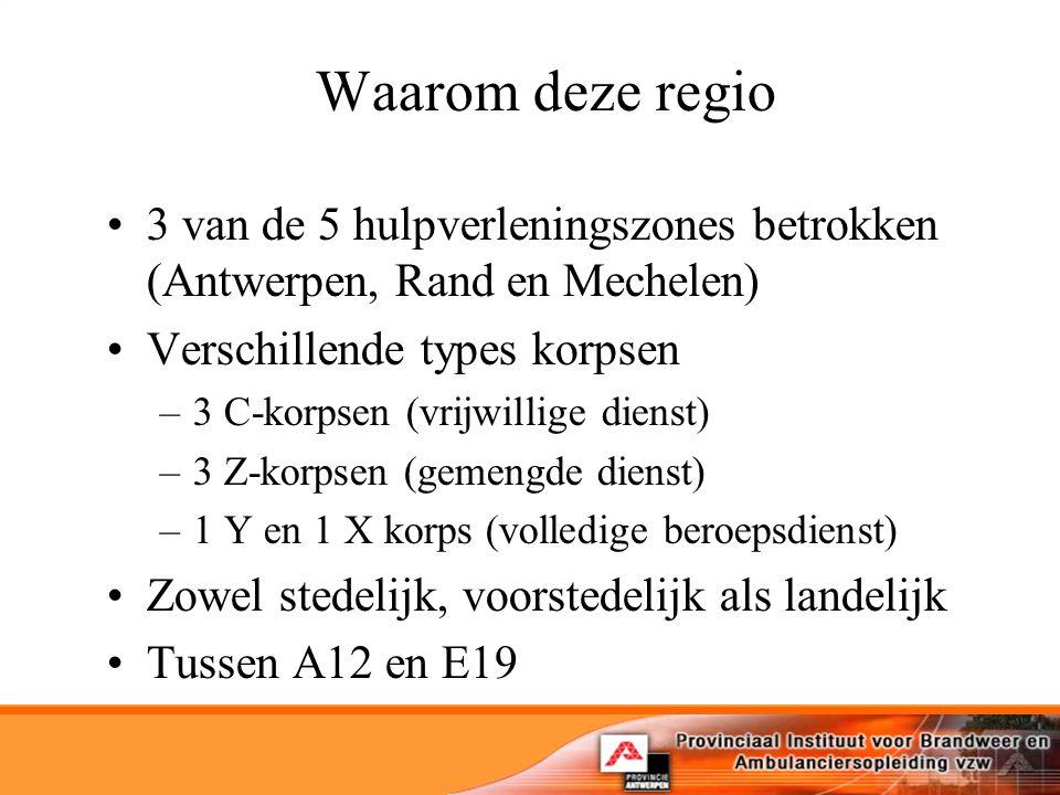 Waarom deze regio 3 van de 5 hulpverleningszones betrokken (Antwerpen, Rand en Mechelen) Verschillende types korpsen.