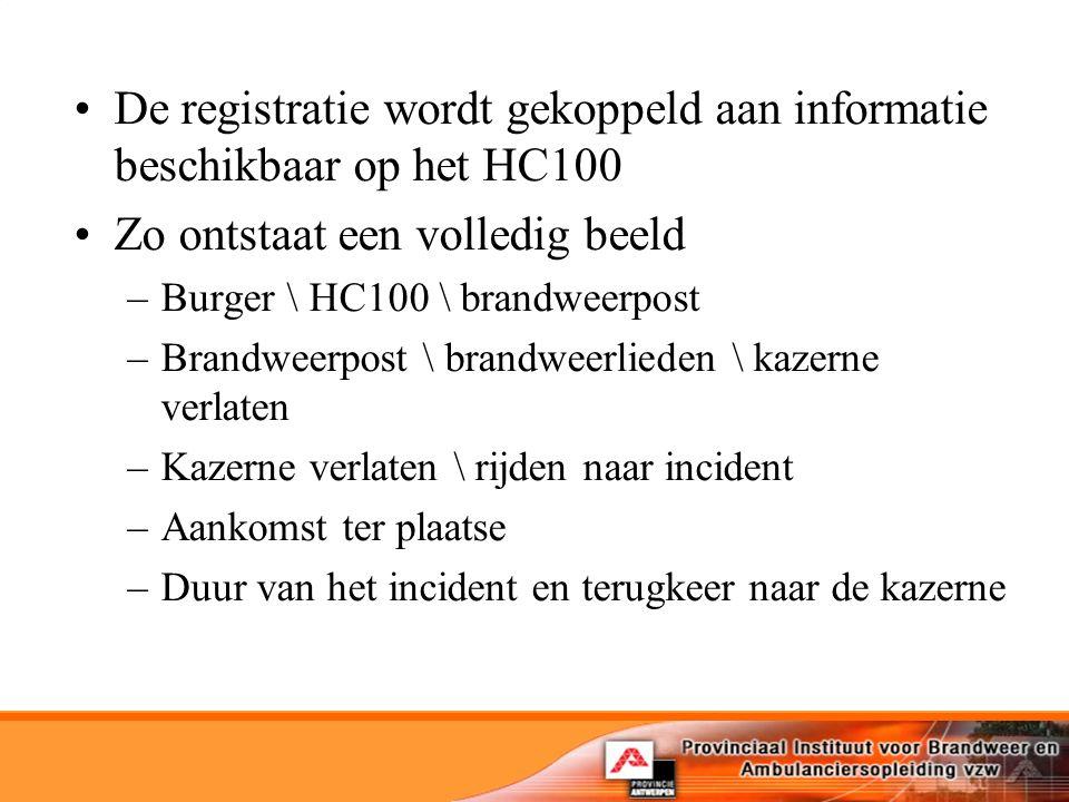 De registratie wordt gekoppeld aan informatie beschikbaar op het HC100