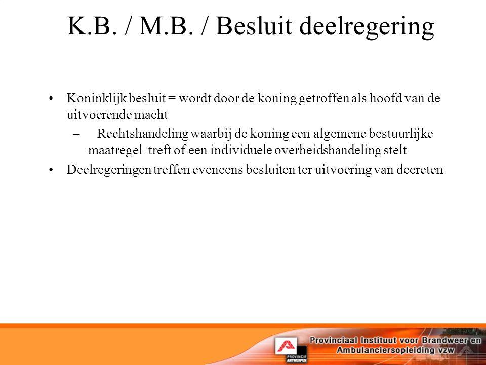 K.B. / M.B. / Besluit deelregering