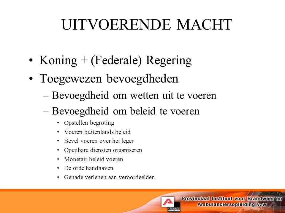 UITVOERENDE MACHT Koning + (Federale) Regering Toegewezen bevoegdheden