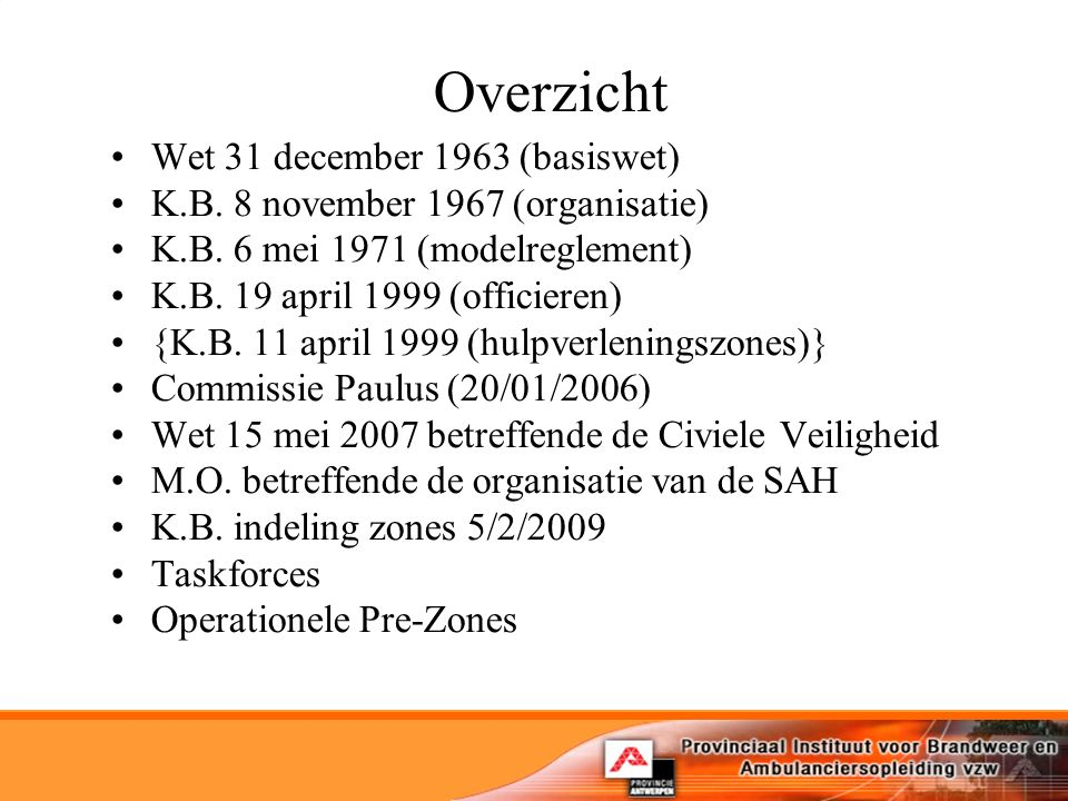 Overzicht Wet 31 december 1963 (basiswet)