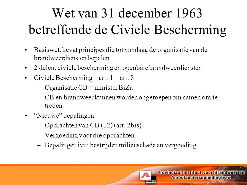Wet van 31 december 1963 betreffende de Civiele Bescherming