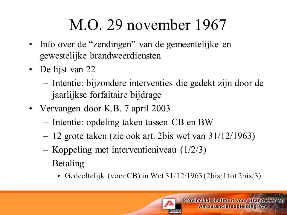M.O. 29 november 1967 Info over de zendingen van de gemeentelijke en gewestelijke brandweerdiensten.