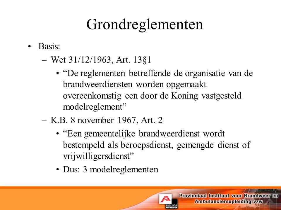 Grondreglementen Basis: Wet 31/12/1963, Art. 13§1