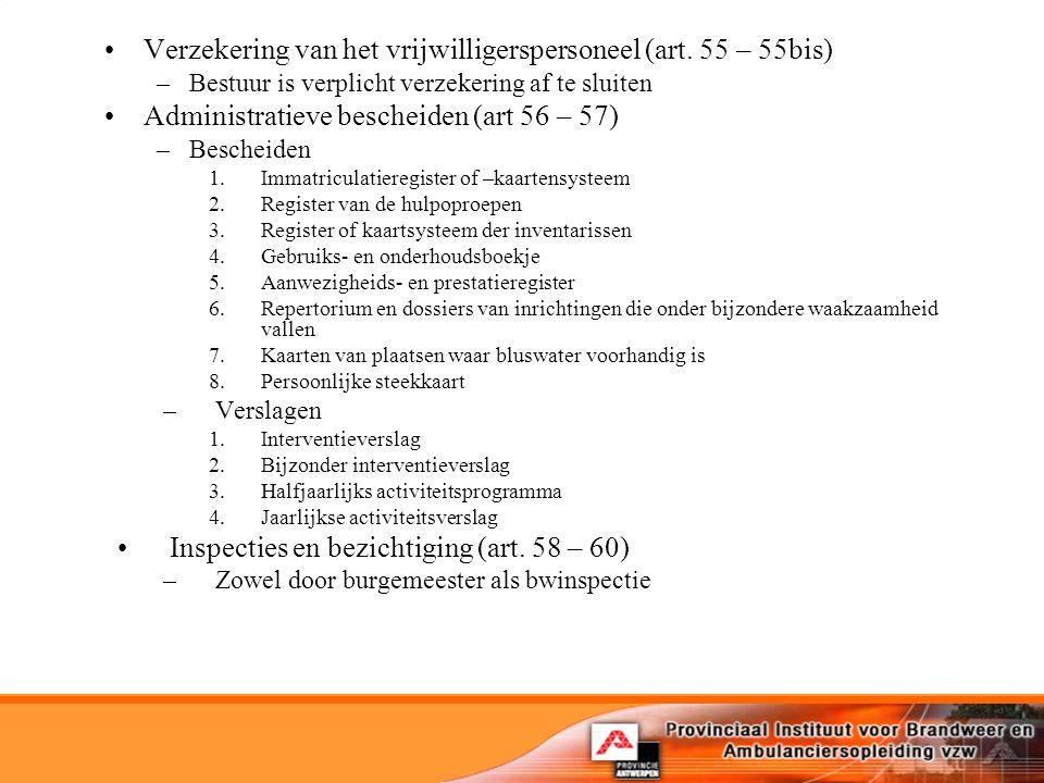 Verzekering van het vrijwilligerspersoneel (art. 55 – 55bis)