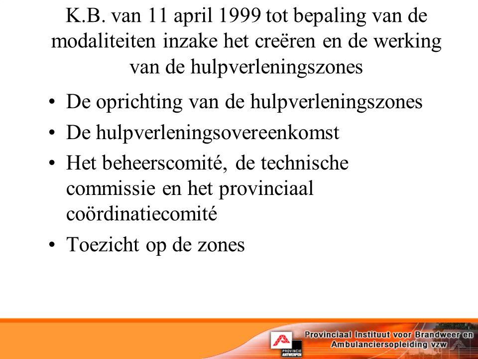 K.B. van 11 april 1999 tot bepaling van de modaliteiten inzake het creëren en de werking van de hulpverleningszones