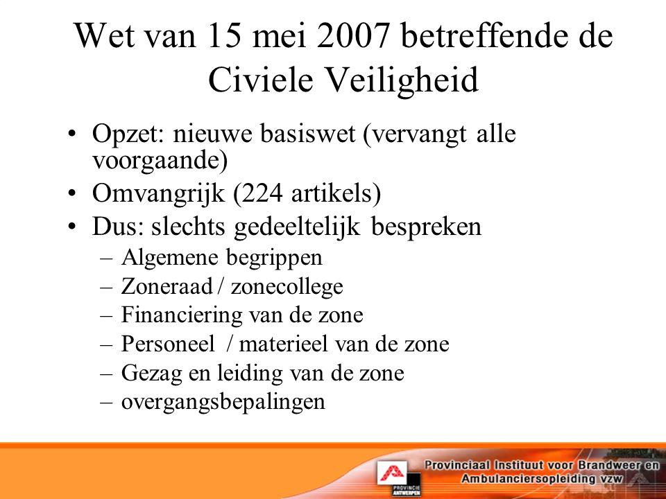 Wet van 15 mei 2007 betreffende de Civiele Veiligheid