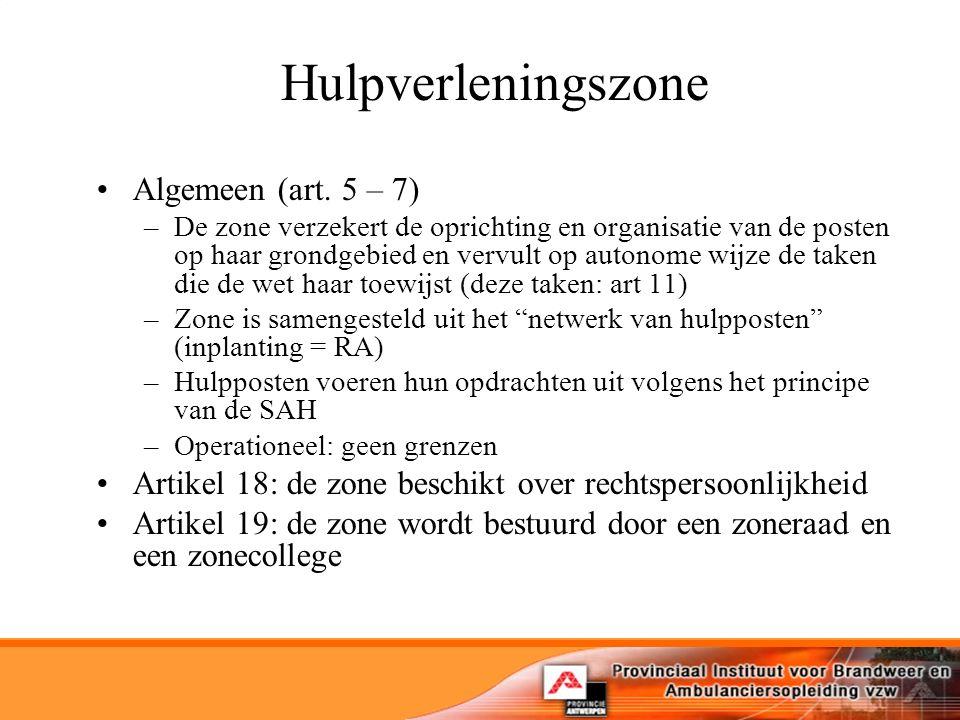 Hulpverleningszone Algemeen (art. 5 – 7)