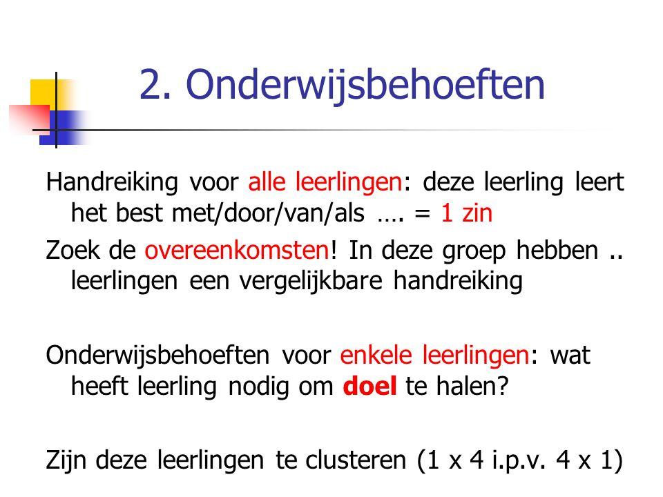 2. Onderwijsbehoeften Handreiking voor alle leerlingen: deze leerling leert het best met/door/van/als …. = 1 zin.