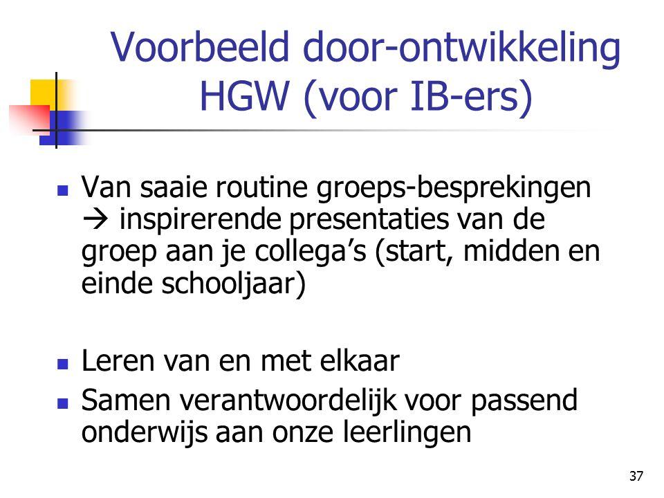 Voorbeeld door-ontwikkeling HGW (voor IB-ers)