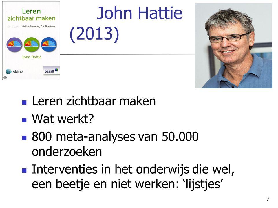 John Hattie (2013) Leren zichtbaar maken Wat werkt