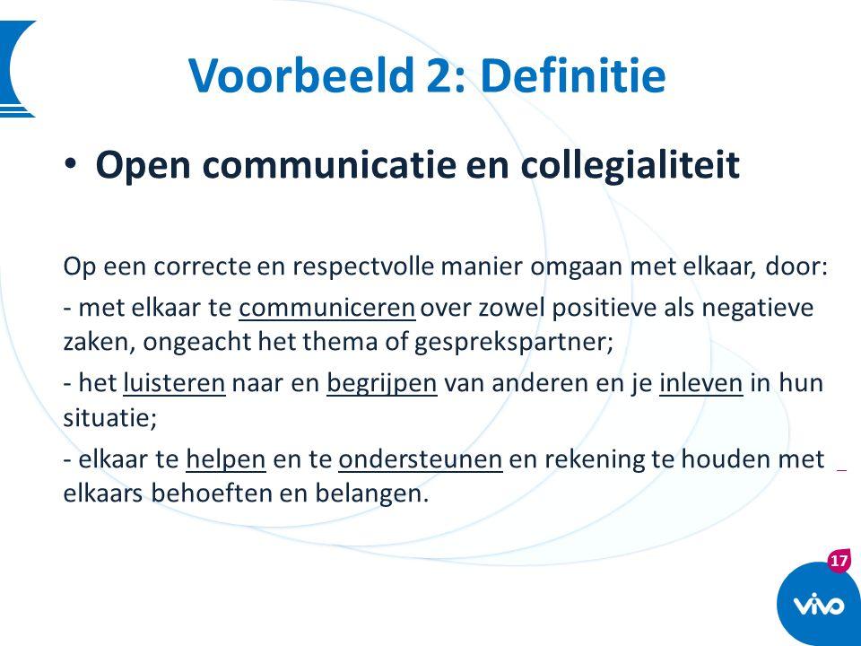Voorbeeld 2: Definitie Open communicatie en collegialiteit