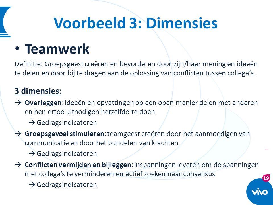 Voorbeeld 3: Dimensies Teamwerk 3 dimensies: