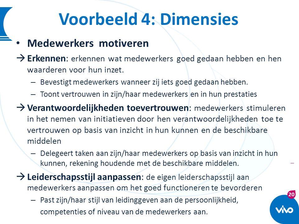 Voorbeeld 4: Dimensies Medewerkers motiveren