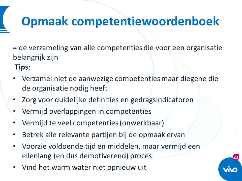 Opmaak competentiewoordenboek