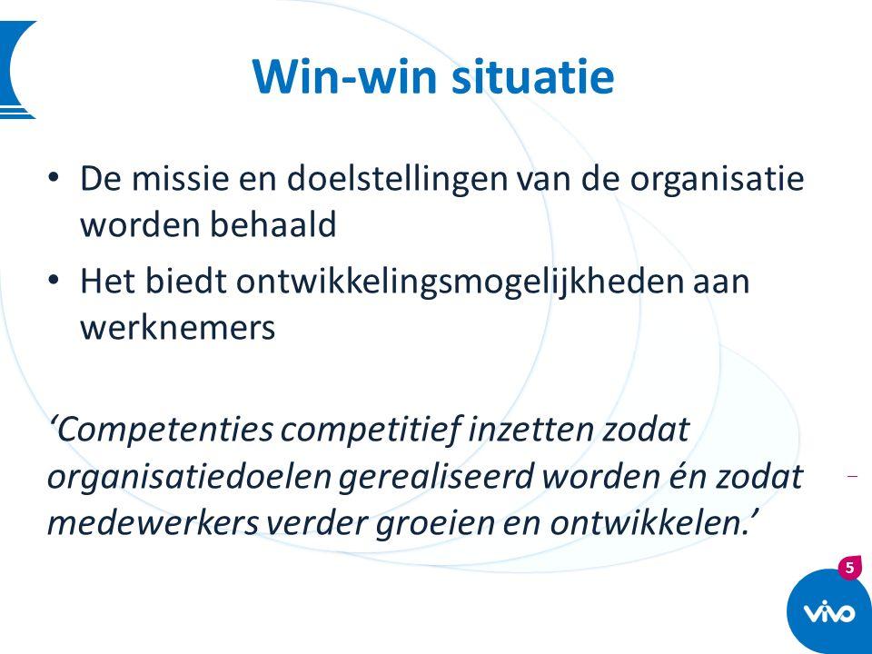 Win-win situatie De missie en doelstellingen van de organisatie worden behaald. Het biedt ontwikkelingsmogelijkheden aan werknemers.