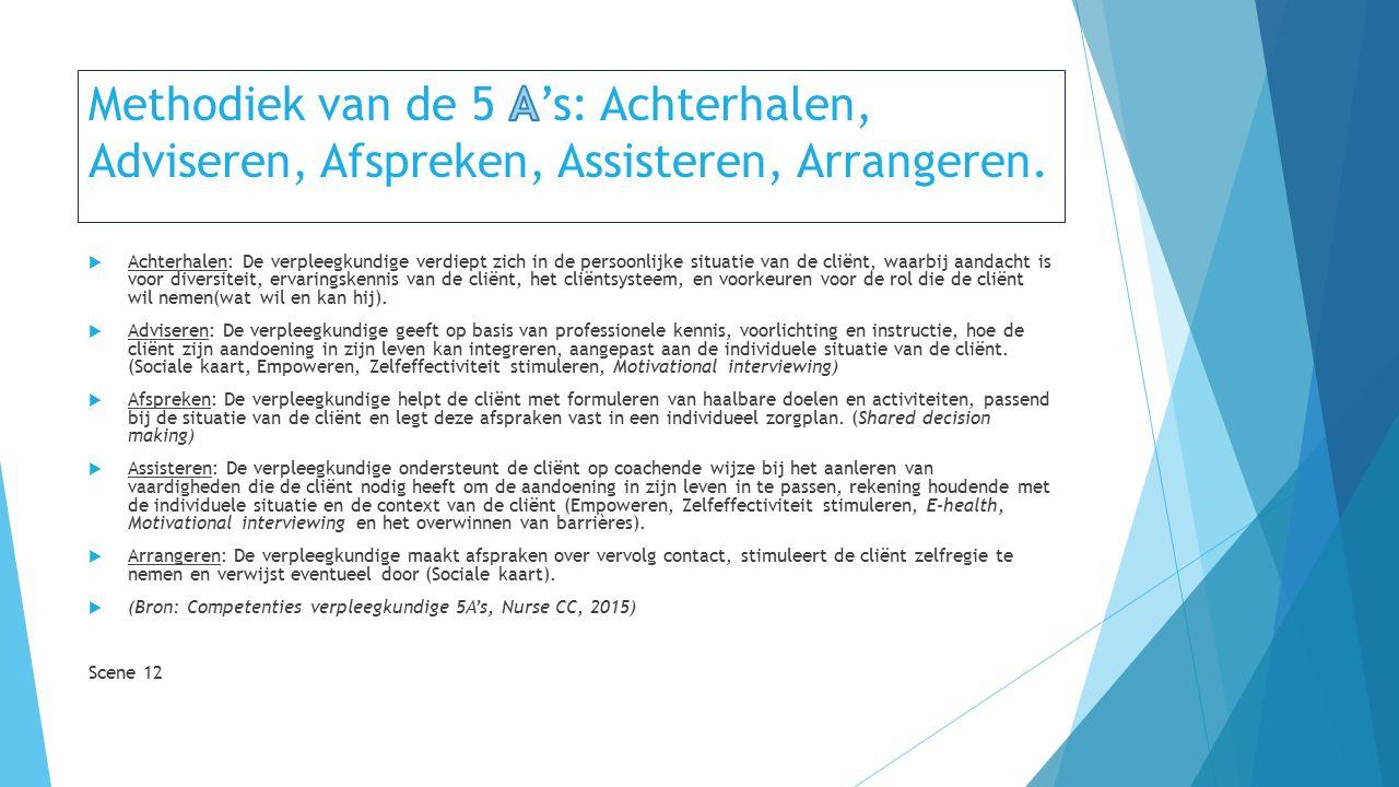 Methodiek van de 5 A's: Achterhalen, Adviseren, Afspreken, Assisteren, Arrangeren.