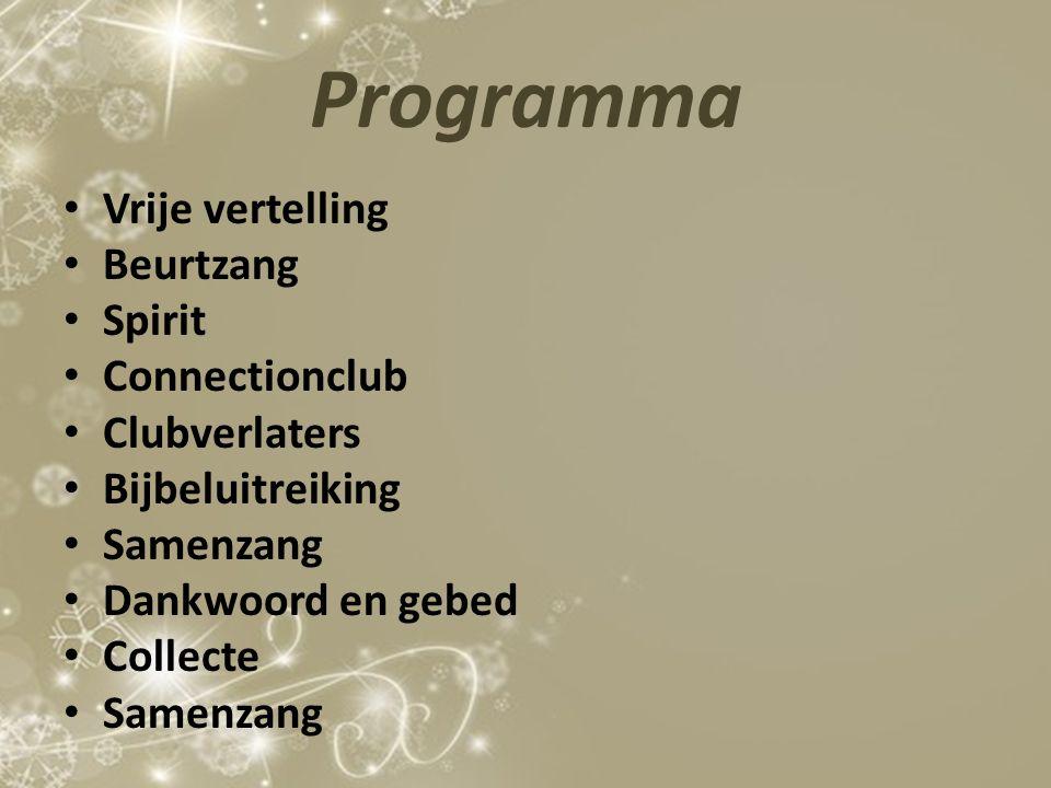 Programma Vrije vertelling Beurtzang Spirit Connectionclub