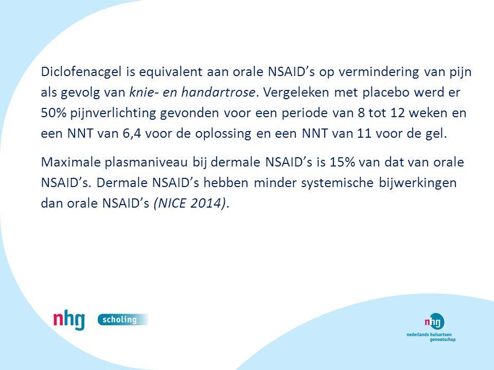 Diclofenacgel is equivalent aan orale NSAID's op vermindering van pijn als gevolg van knie- en handartrose. Vergeleken met placebo werd er 50% pijnverlichting gevonden voor een periode van 8 tot 12 weken en een NNT van 6,4 voor de oplossing en een NNT van 11 voor de gel.