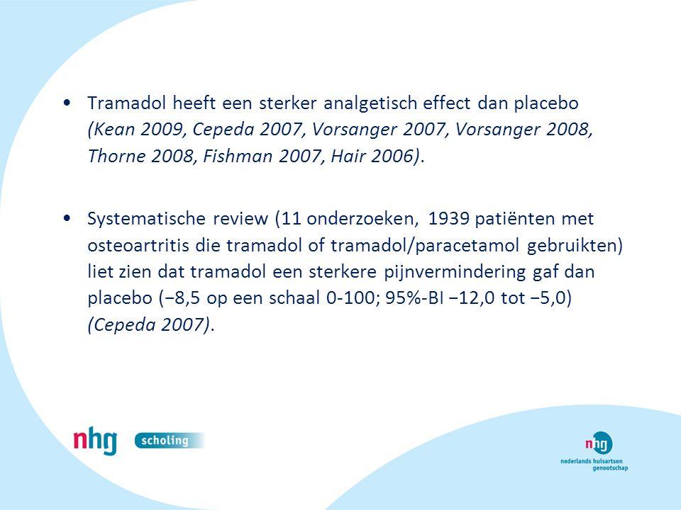 Tramadol heeft een sterker analgetisch effect dan placebo (Kean 2009, Cepeda 2007, Vorsanger 2007, Vorsanger 2008, Thorne 2008, Fishman 2007, Hair 2006).