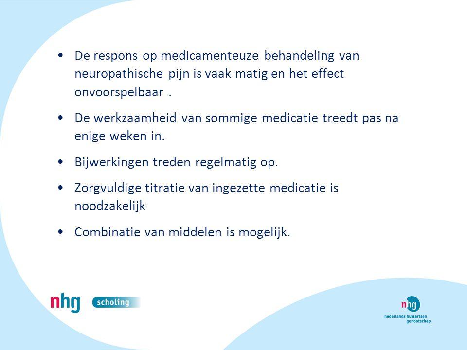 De respons op medicamenteuze behandeling van neuropathische pijn is vaak matig en het effect onvoorspelbaar .