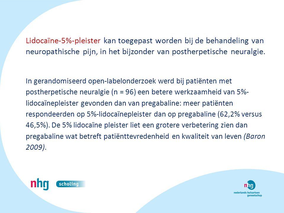 Lidocaïne-5%-pleister kan toegepast worden bij de behandeling van neuropathische pijn, in het bijzonder van postherpetische neuralgie.
