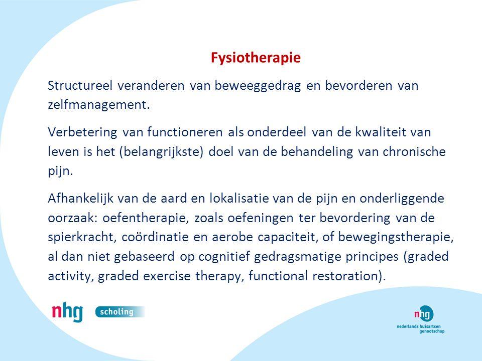 Fysiotherapie Structureel veranderen van beweeggedrag en bevorderen van zelfmanagement.