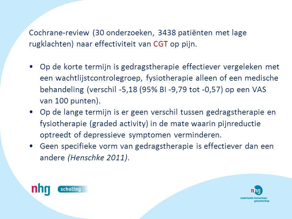 Cochrane-review (30 onderzoeken, 3438 patiënten met lage rugklachten) naar effectiviteit van CGT op pijn.