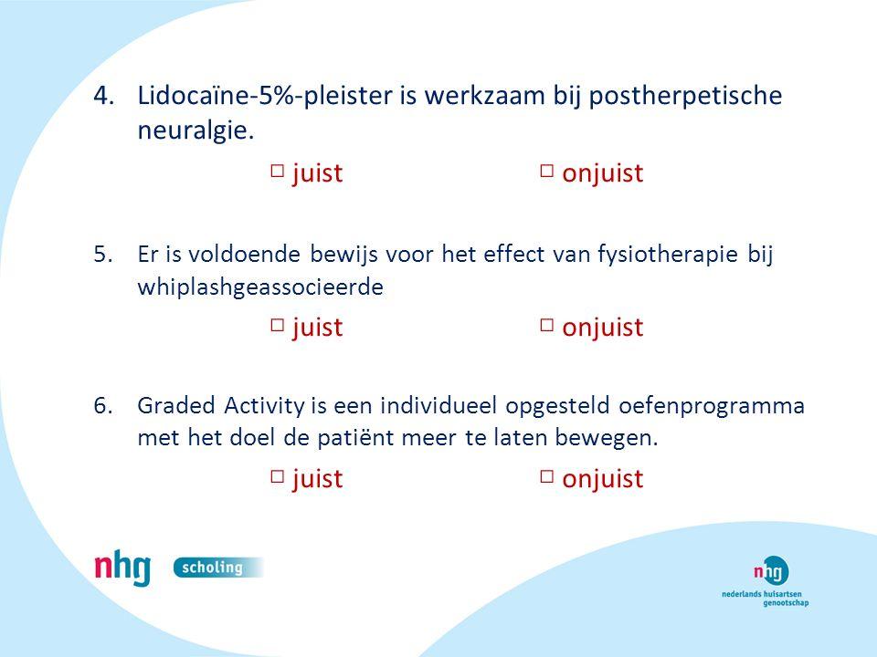 Lidocaïne-5%-pleister is werkzaam bij postherpetische neuralgie.