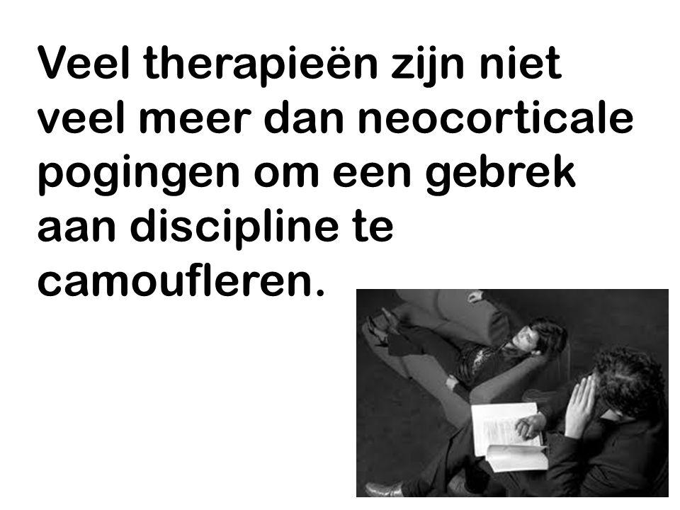 Veel therapieën zijn niet veel meer dan neocorticale pogingen om een gebrek aan discipline te camoufleren.