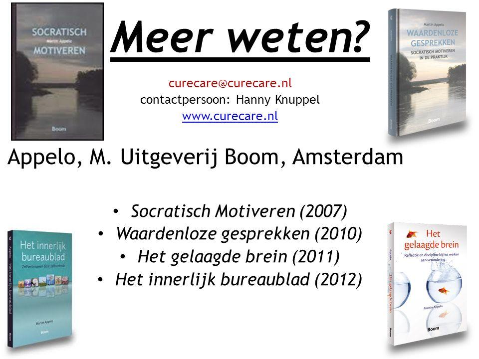Meer weten Appelo, M. Uitgeverij Boom, Amsterdam