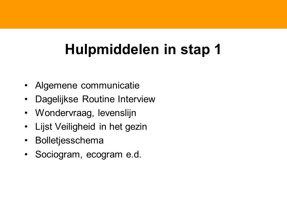 Hulpmiddelen in stap 1 Algemene communicatie