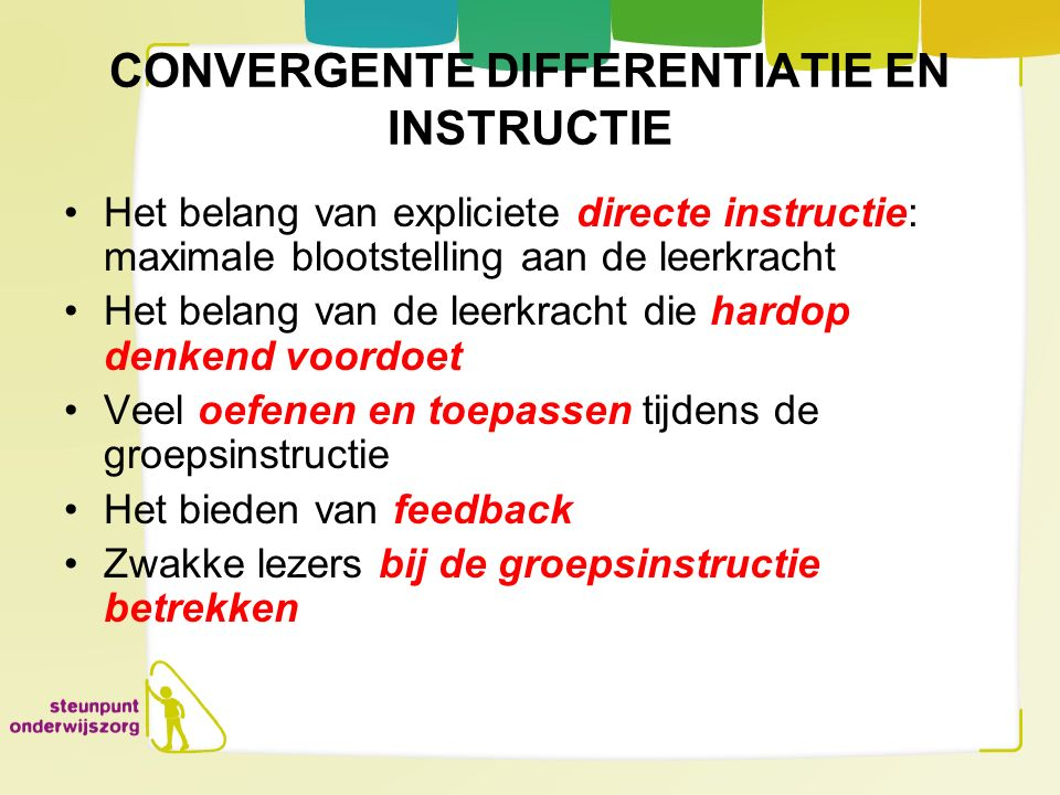 CONVERGENTE DIFFERENTIATIE EN INSTRUCTIE