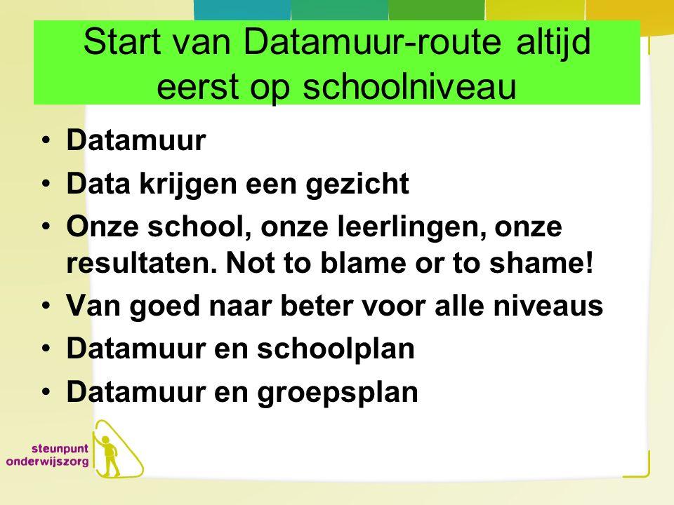 Start van Datamuur-route altijd eerst op schoolniveau