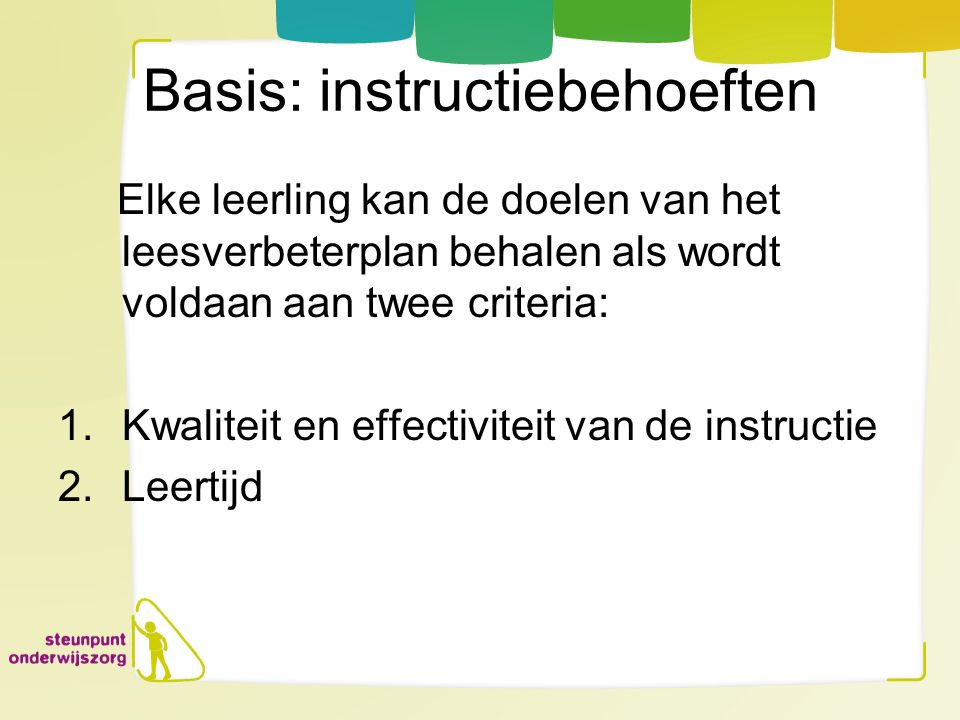Basis: instructiebehoeften