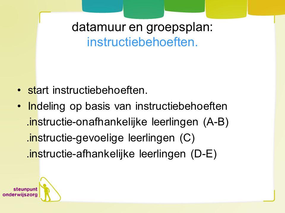 datamuur en groepsplan: instructiebehoeften.