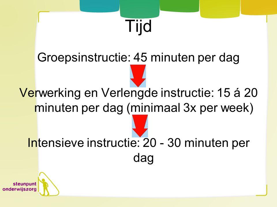 Tijd Groepsinstructie: 45 minuten per dag