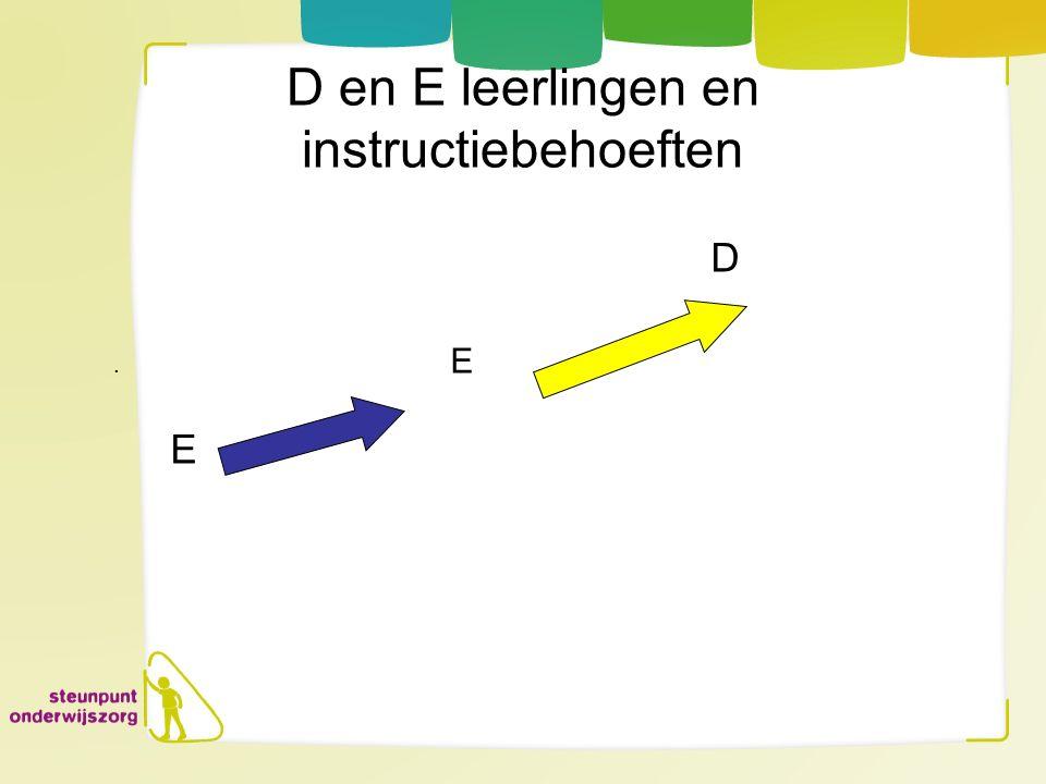 D en E leerlingen en instructiebehoeften